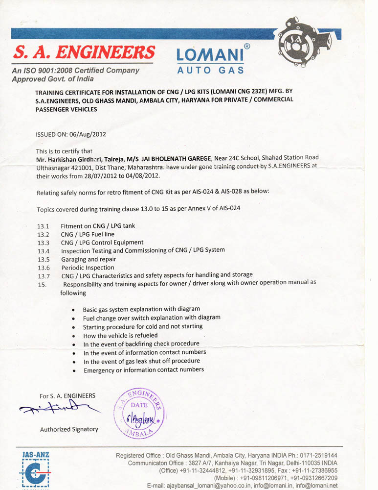 Jai Bholenath Garage, RTO Approved CNG & LPG Kit Fitting Center In